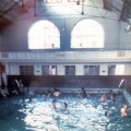 The interior of Loughborough swimming baths in the 1970s.  This balcony is still visible inside the museum.