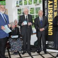 Ian with Ernie Miller, Teresa Keil, Don Wix and Vice Chancellor Shirley Pearce, at the opening of Charnwood Museum's exhibition of the history of Loughborough University, May 2009.