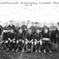This photograph of the Loughborough Wednesday Football Club was taken at the Bromhead Ground on Nottingham Road, Loughborough.  The houses in the background front onto Freehold Street.