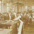 Henry Wills' print room in about 1900.