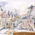 The Market Place in the early 1800s.  Illustration taken from 'The Making of Loughborough' by Don Wix, Wallace Humphrey and Ian Kiel