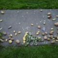 The tomb of Frederick the Great.  It has become a traditional to lay a potato on the grave as a mark of respect.