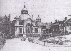 A drawing by A T Warbis of Loughborough Library as seen from the park.