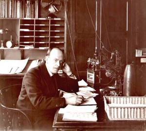 Herbert Schofield at his desk at Loughborough Technical Institute circa 1917