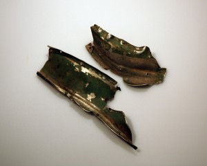 Shrapnel from the night of the Zeppelin raid, currenty on display in the Carillon War Memorial Museum. (Photo sourced from http://www.leics.gov.uk/revealed_objects_zeppelin.htm)