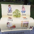 One of the book benches installed in the town for the Loogabarooga Festival - from the front...