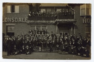 Brush Strikers meet outside the Lonsdale Pub in 1906