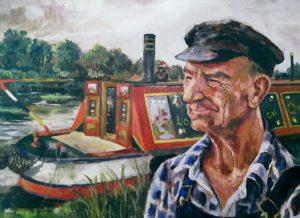 Jack Monk, lock-keeper, painted beside 'Owl' by Jennifer Harkin, sometime in the 1970s